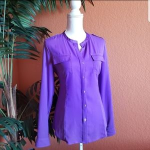 Calvin Klein Safari Style Button Down Top Purple M